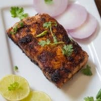 Indian style salmon fish fry