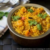 Prawn Biryani using coconut milk